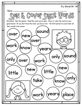 Fry 101-200 - Spin & Cover Sight Words