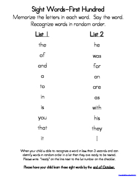 Sight Words (Fry Words)- The First Hundred Word List Homework Packet