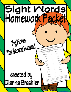 Sight Words (Fry Words)- The Second Hundred Word List Homework Packet