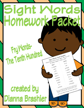 Sight Words (Fry Words)- The Tenth Hundred Word List Homework Packet