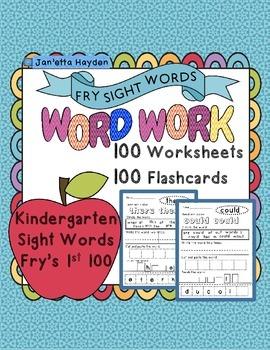 Sight Words Fry's 1st 100 Kindergarten Word Work