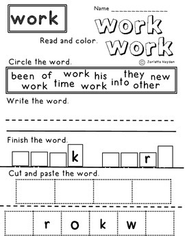 Sight Words Fry's 2nd 100 First Grade Word Work