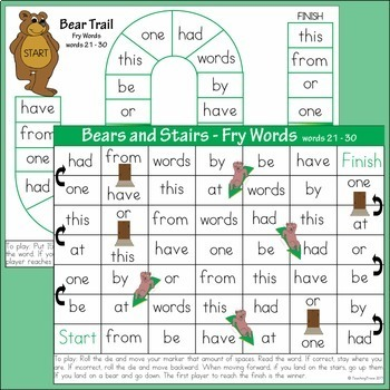 Sight Word Games using Fry's First 100 words