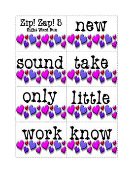 Sight Words Fun Game: Zip! Zap! 5