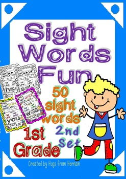 Sight Words Fun in First Grade Set 2 (50 words - B&W and c
