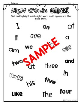 Sight Words Galore - LIST 1 {Includes Interactive Slide Show}