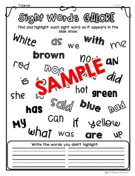 Sight Words Galore - LIST 2