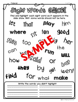 Sight Words Galore - LIST 3