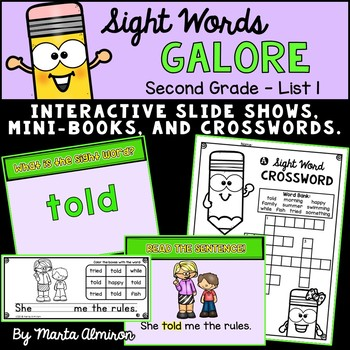 Sight Words Galore - SECOND GRADE LIST 1 {Includes Digital Resource}