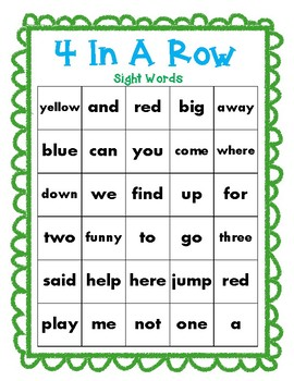 Sight Words Game - 4 in a row