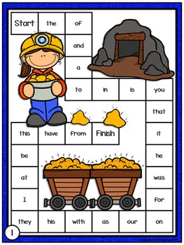 Sight Words Game Boards: Little Miners