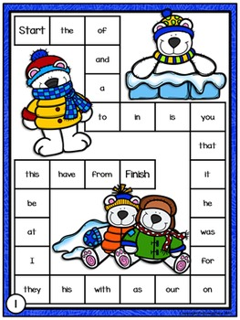 Sight Words Game Boards: Winter