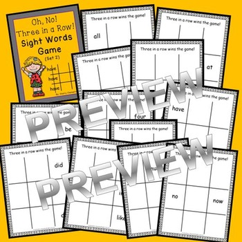 Sight Words Game: Oh, No! Three in a Row! (Set 2) Primer