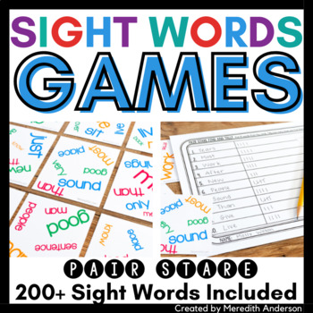 Sight Words Game: Pair Stare (not Fry) version