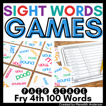 Sight Words Game: Pair Stare Fry Fourth Hundred