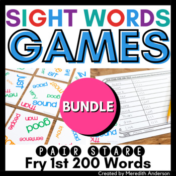 Sight Words Game: Pair Stare Fry first two hundred words BUNDLE, for centers