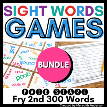 Sight Words Game: Pair Stare Fry Second Three Hundred Words BUNDLE