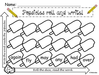 First Grade Sight Words: Popsicle Roll and Write!