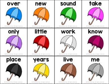 Sight Words Game - Umbrellas