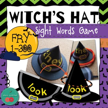 Sight Words Game - {Witch's Hats} - Halloween Literacy Center {FRY-1-300}