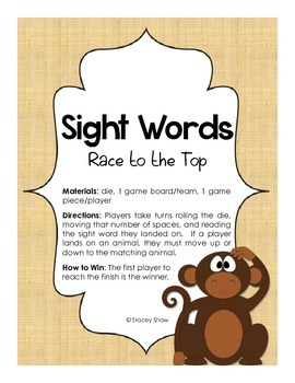 Sight Words Game (Word Wall Words)