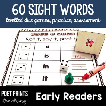 Sight Word Games Literacy Center for Kindergarten and First Grade