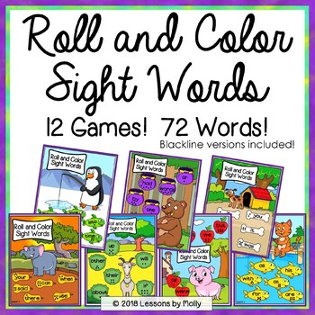Sight Words Games - Roll the Dice and Color The Box
