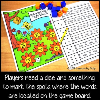 Sight Words Games - Roll the Dice and Color The Box (British Spelling Version)