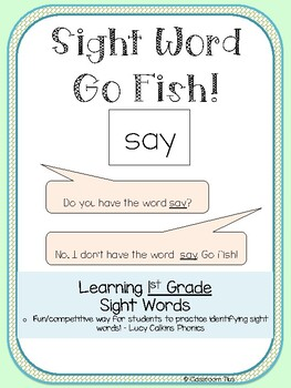 Sight Words Go Fish - 1st Grade - Lucy Calkins Phonics