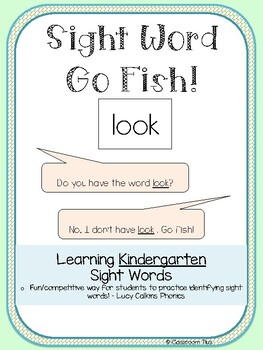 Sight Words Go Fish - Kindergarten - Lucy Calkins Phonics