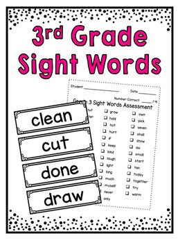 Sight Words ~ Grade 3 Word Wall Cards and Assessment