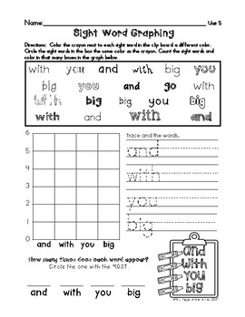Sight Words Graphs - Unit Review (Benchmark Advance Aligned)