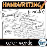 Color Words Handwriting Practice