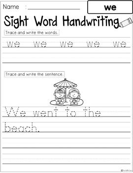 Sight Words Handwriting (Pre-Primer)