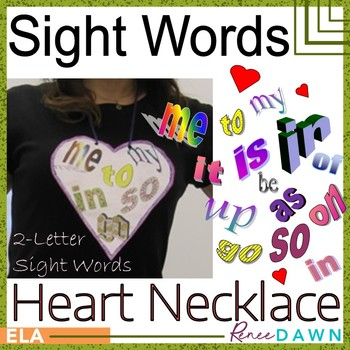 Sight Words Heart Necklace
