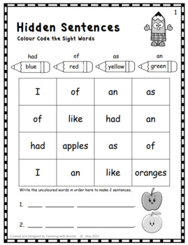 Sight Words     Hidden Sentences