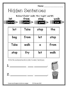 Sight Words Dolch Grade 1 Hidden Sentences
