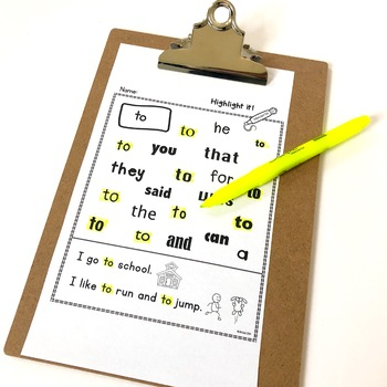 Sight Words:  Highlight it!