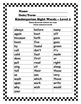 Sight Words I Can Read -  Assessment Sheets - K to 3