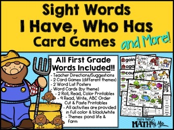 Sight Words I Have, Who Has Card Games and More! {All First Gr. Dolch Words}