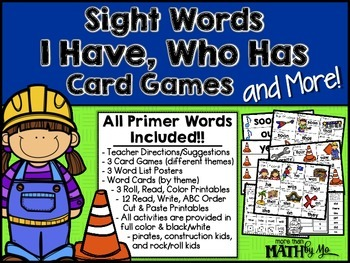Sight Words I Have, Who Has Card Games and More! {All Primer Dolch Words}