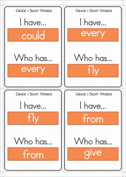 Sight Words I Have... Who Has? (Grade 1 Words)