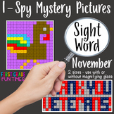 Sight Words I Spy Mystery Pictures Thanksgiving Activities