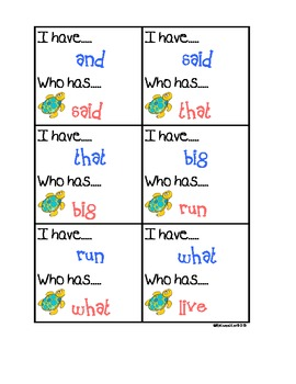 Sight Words- I have Who Has