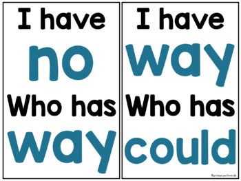 Sight Words I have, Who has (1-100) BUNDLE