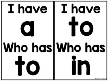 Sight Words I have, Who has (1-25)