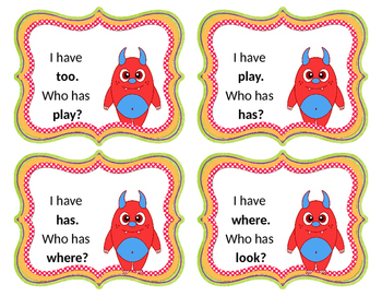 "Sight Words ""I have/Who has"" Card Game"