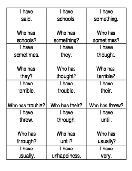 Sight Words I have who has game s-w