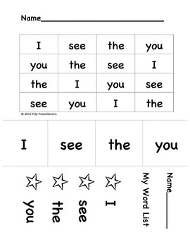 "Sight Words: ""I, see, the, you"". For SIPPS lessons 1-4"