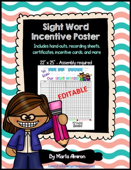 Sight Words Incentive Poster, Handouts, and More - EDITABLE